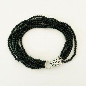 Kenneth Lane KJL Rhinestone Leopard Black Necklace